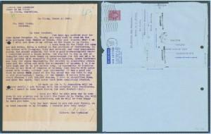 Izquierda: Carta Nº REX-00009. Año 1949. Derecha: Carta Nº REX-00052-R. Año 1951.