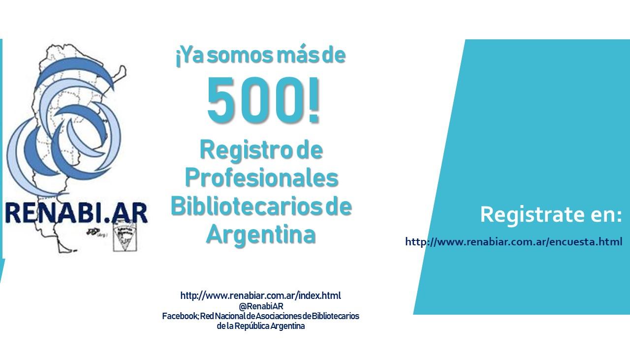 Convocatoria de la Red Nacional de Asociaciones de Bibliotecarios de la República Argentina a ingresar al Registro Nacional de Bibliotecarios